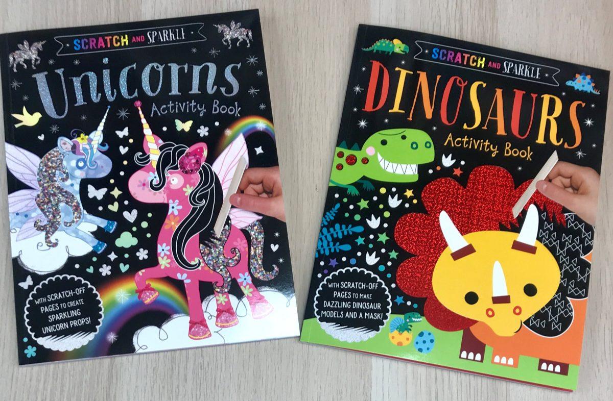 unicorn scratch activity book and dinosaur scratch activity book