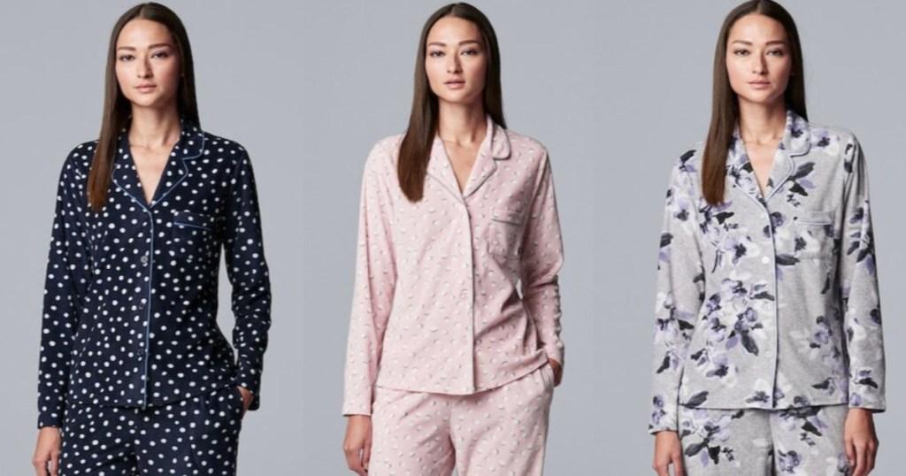 three women wearing simply vera wang pajamas