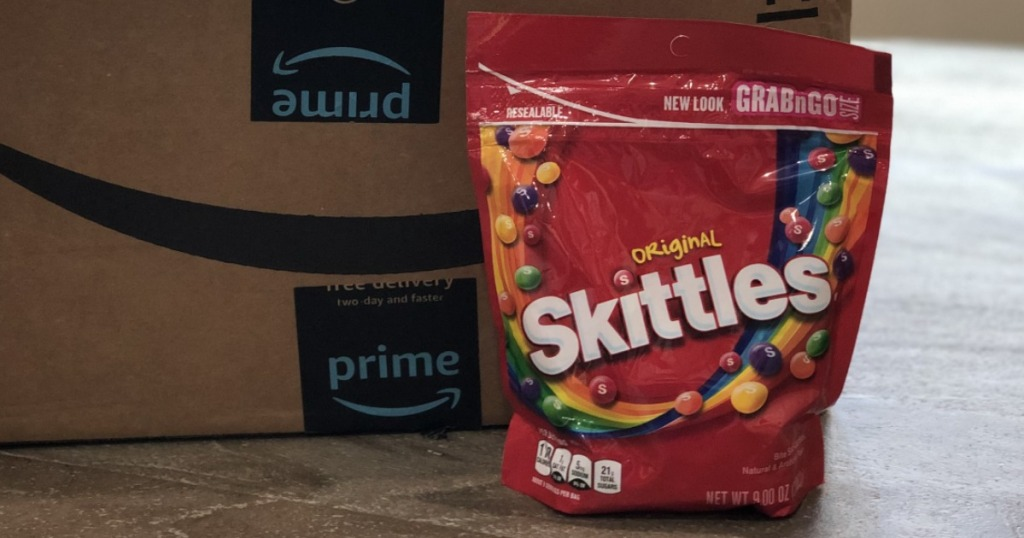 Skittles Grab & Go Bag in front of Amazon box