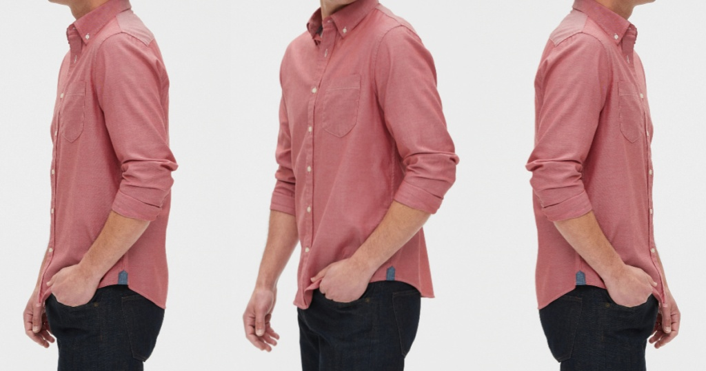 man in pink button up shirt