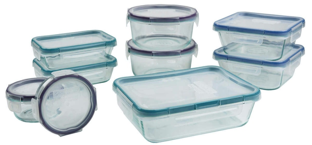 various size snap lid food containers