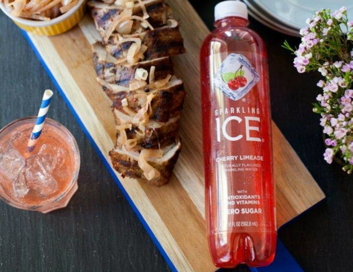 Sparkling Ice cherry limeade next to sliced meat