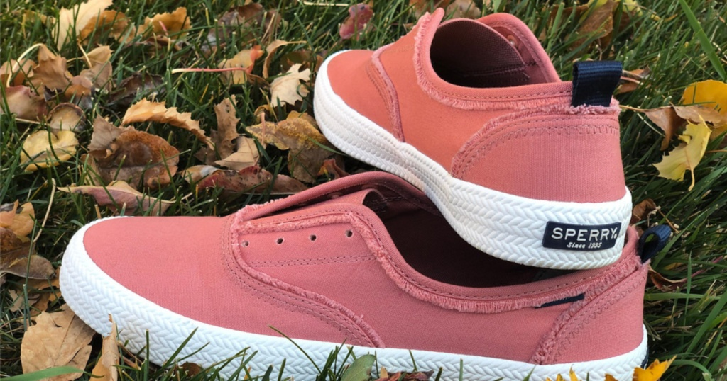 pink casual women's shoes in grass