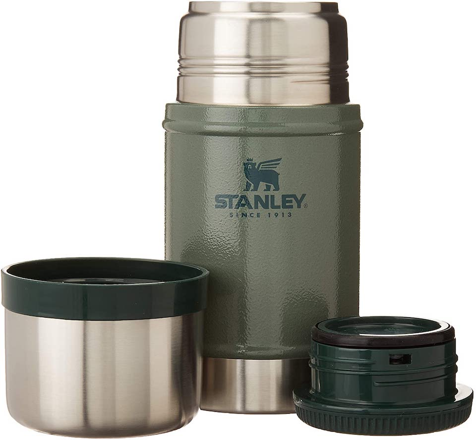 Stanley food jar with lids next to it