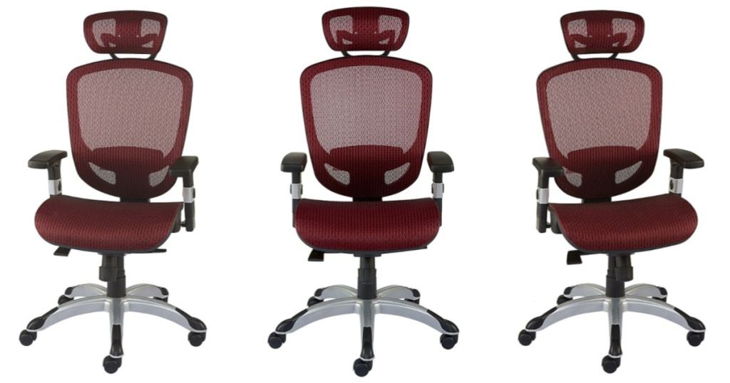 three red mesh computer chairs