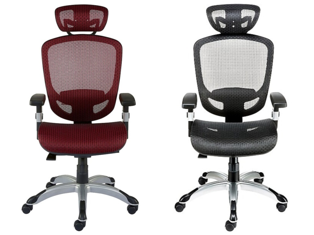 red mesh computer chair and black mesh computer chair