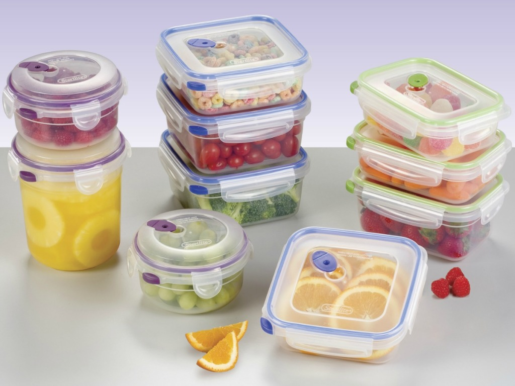 Sterilite Container Set filled with colorful foods