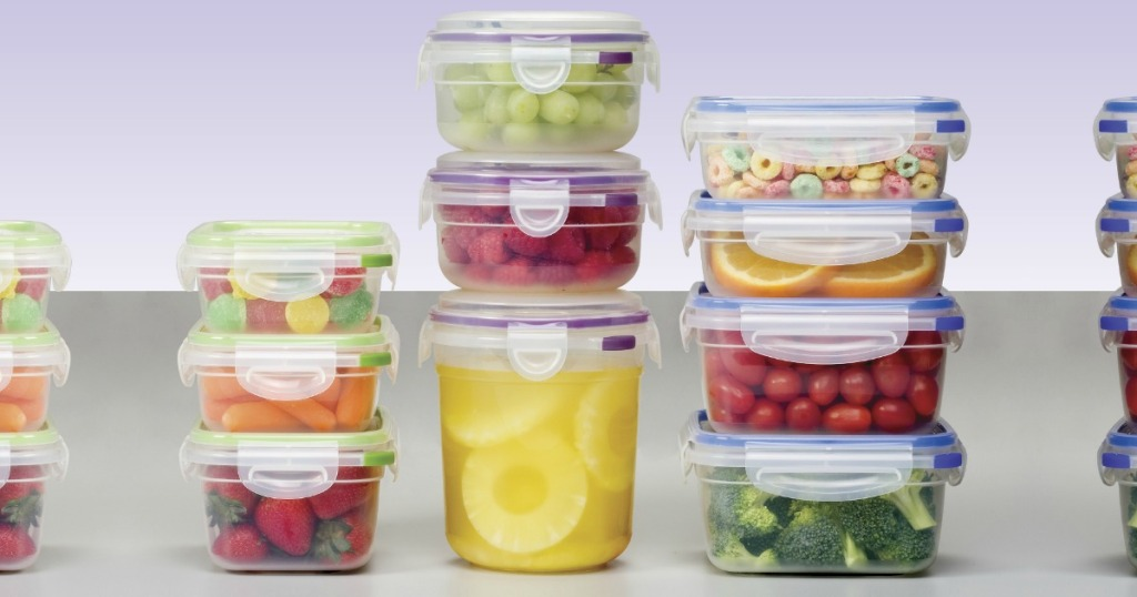 Stacks of Sterilite Containers filled with fruit