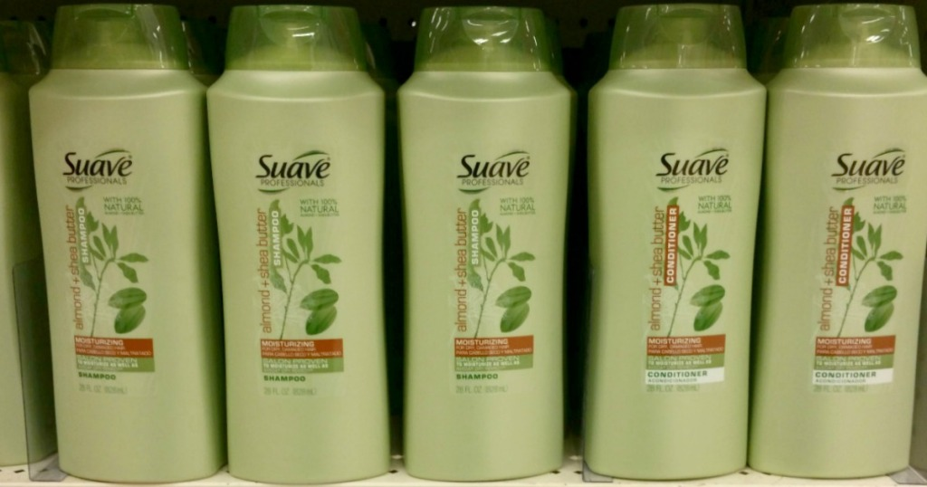 Suave brand shampoo on display in-store