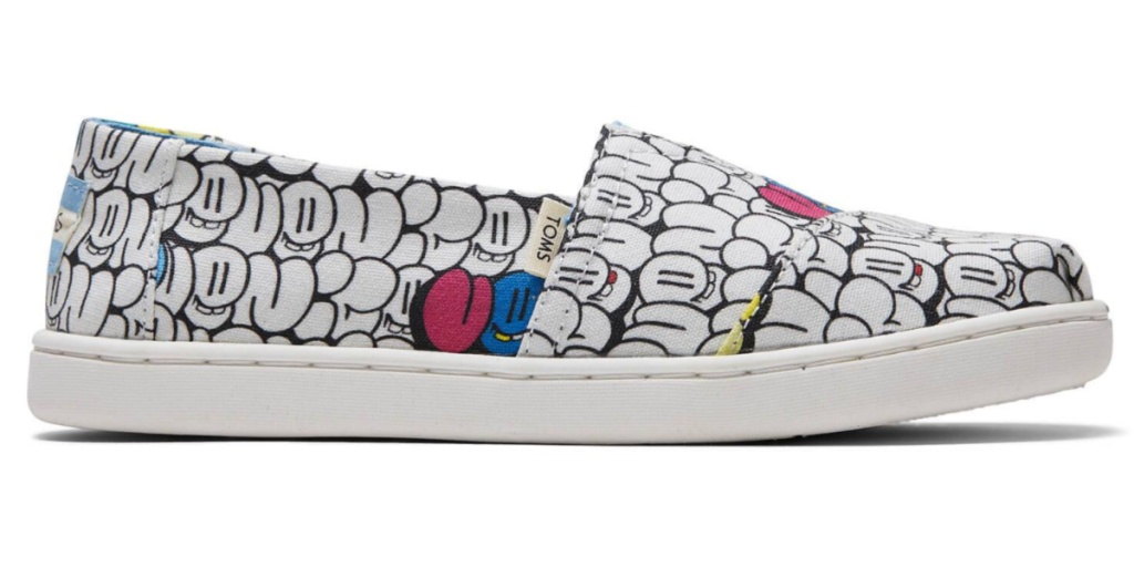 TOMS kids graffiti shoe product display one shoe