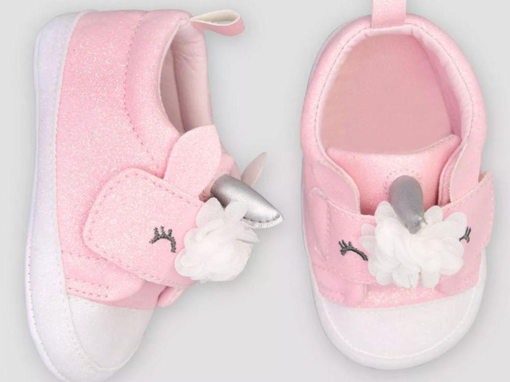 pair of pink target babu girl unicorn sneakers