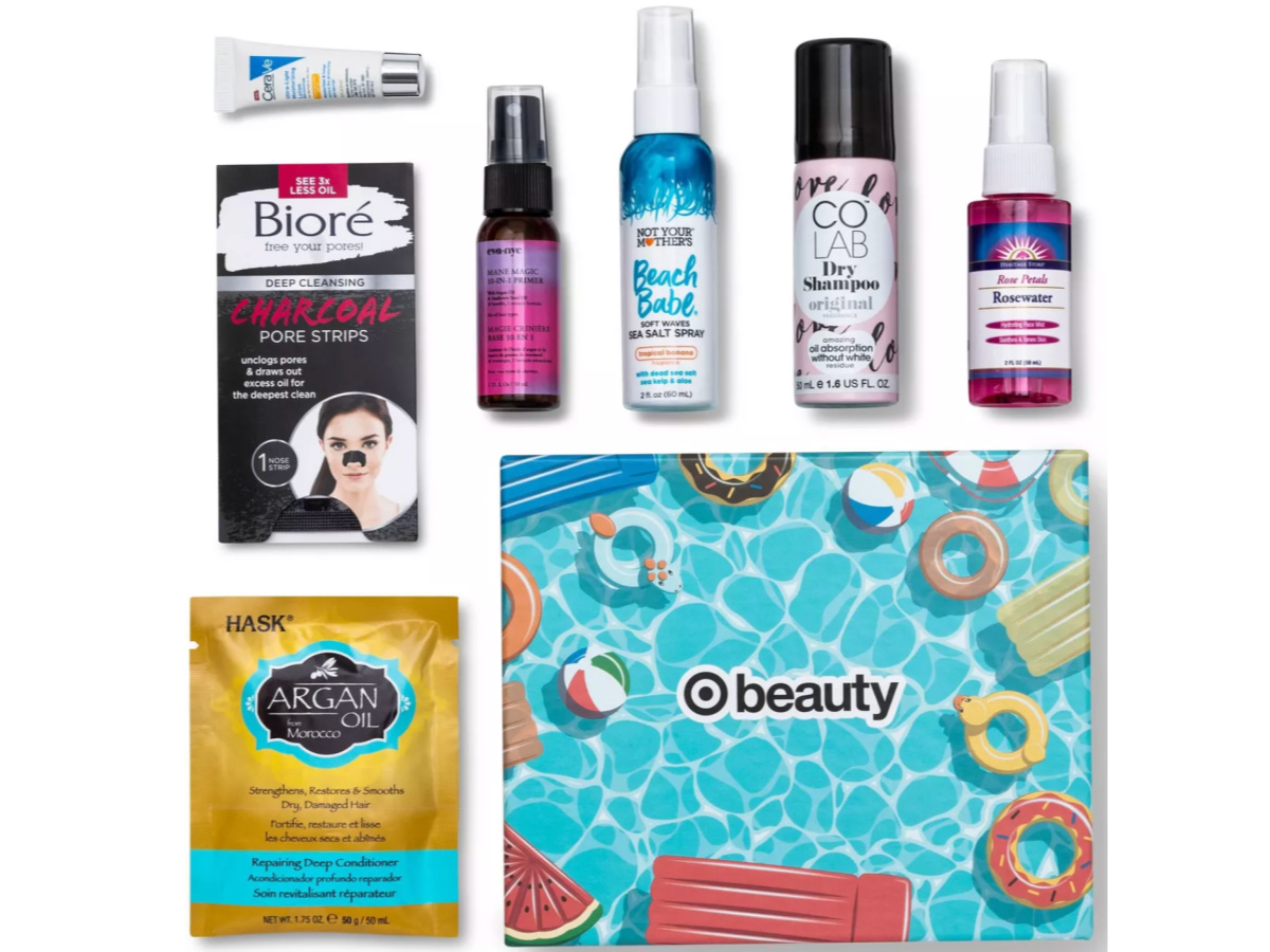 aerial view of Target Beauty Box May Summer Hair and Skin with products and box with fool floats