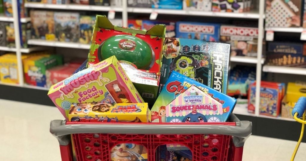 board games in basket at store