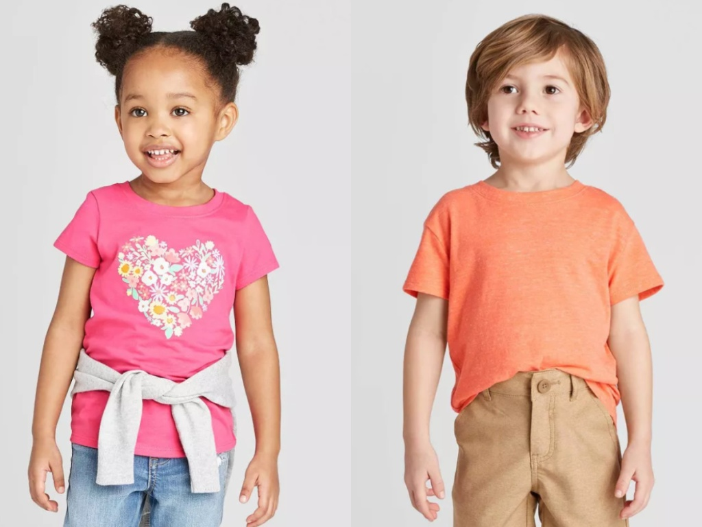 little boy and little girl wearing t-shirts