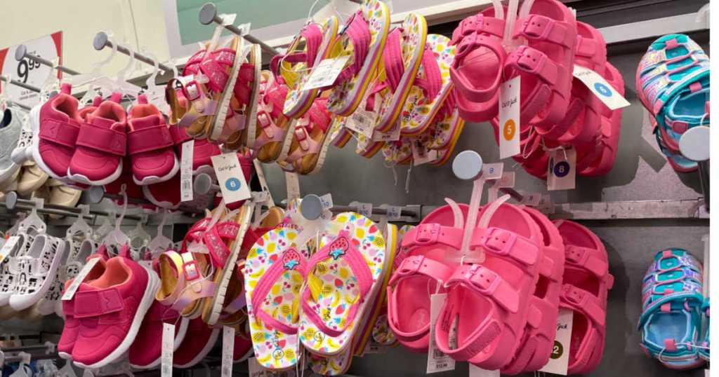 rack of target kids sandals in pink and multicolor