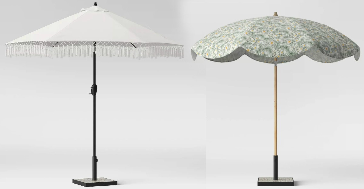 Two styles of patio umbrellas with stands