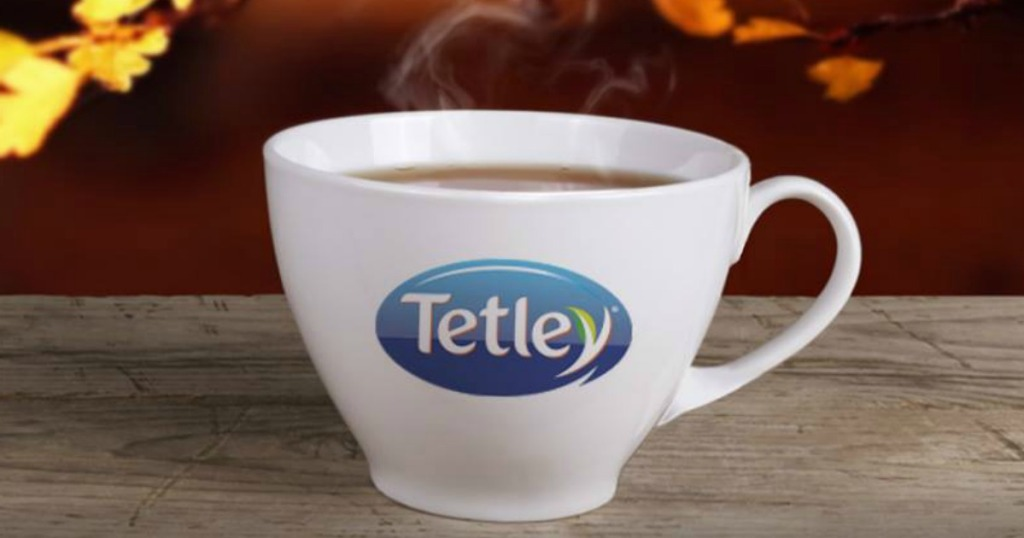 cup of tea that says Tetley on it