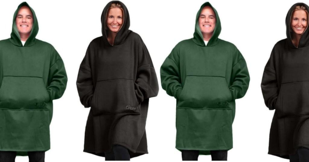 people wearing oversized hoodies