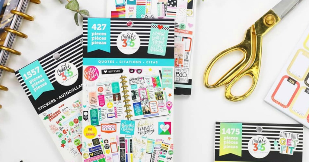 The Happy Planner sticker sets and scissors