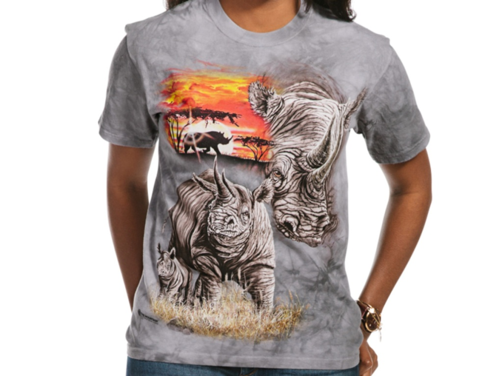woman wearing rhino t-shirt
