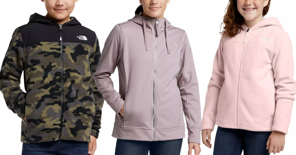 three models wearing north face brand jackets