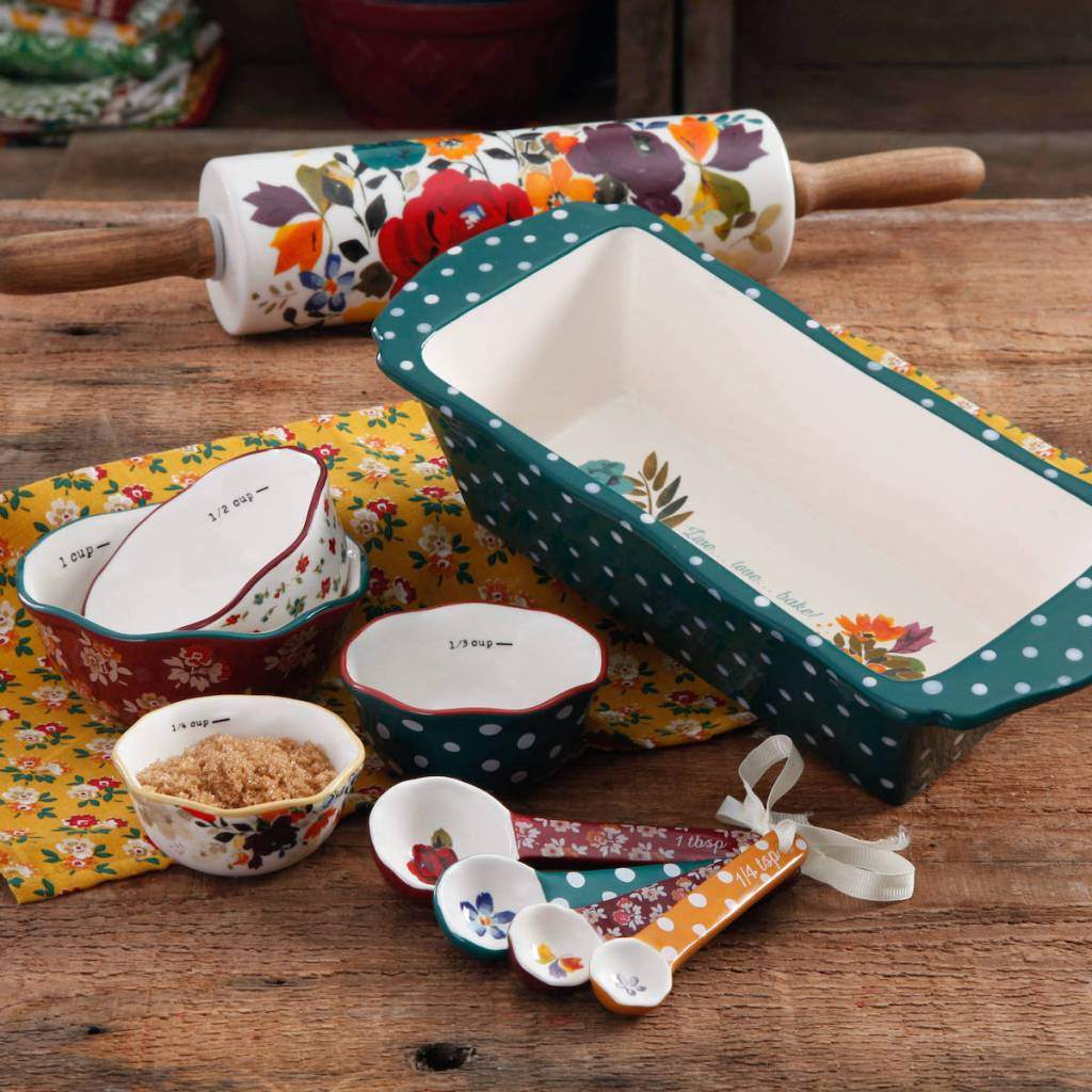 The Pioneer Woman Harvest Bakeware Set with a loaf pan, rolling pin, 4-piece measuring bowls, and 4-piece measuring spoons