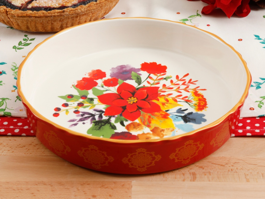 red floral themed pie dish