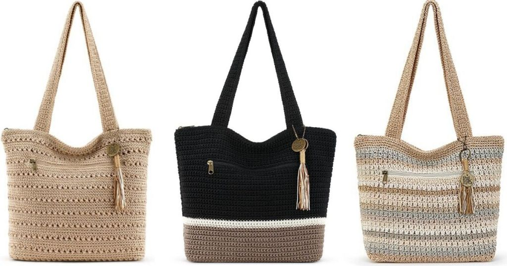 three The Sak Riviera Totes one in bamboo, one black white and dark tan, and one striped