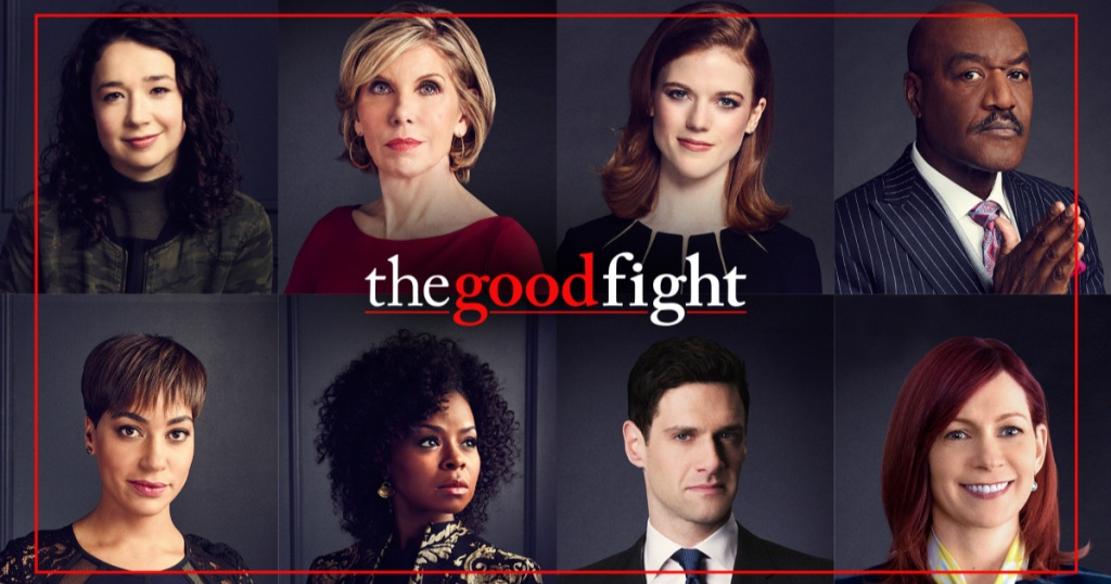 the good fight text with actors surrounding text