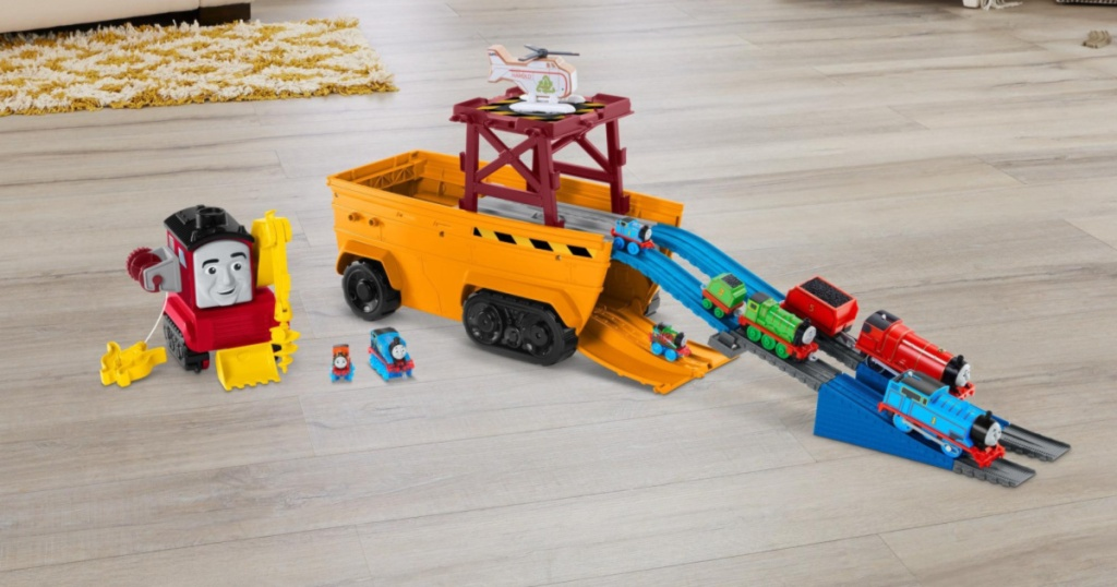 toy train set on floor
