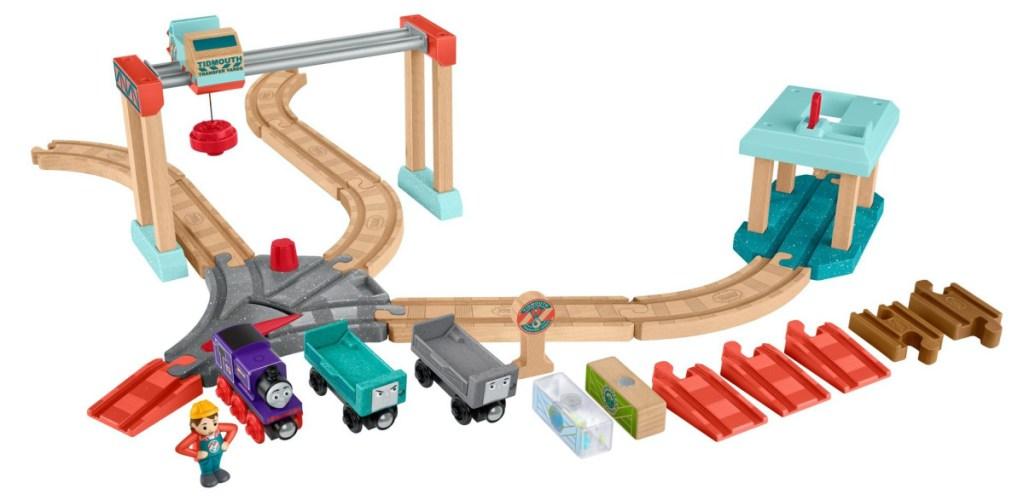 cargo train track and train set
