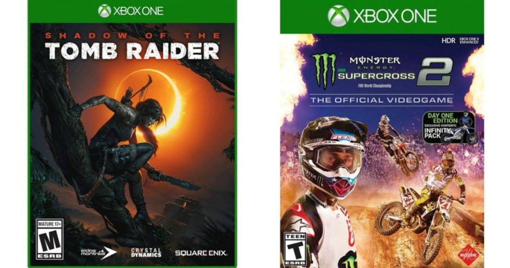 Tomb Raider and Supercross Game cases