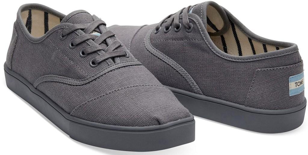 pair of grey canvas mens toms sneakers