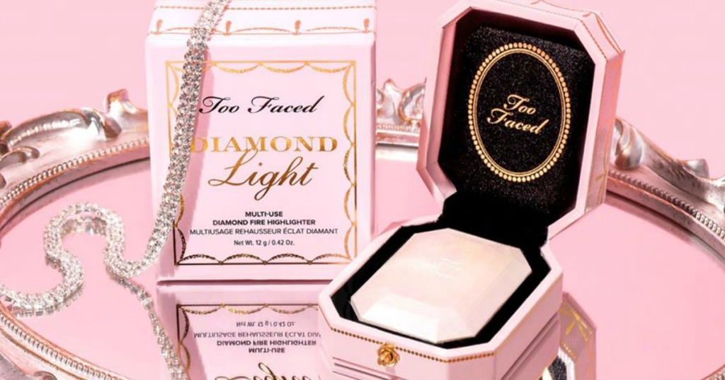 Too Faced Diamond Light Highlighter next to box