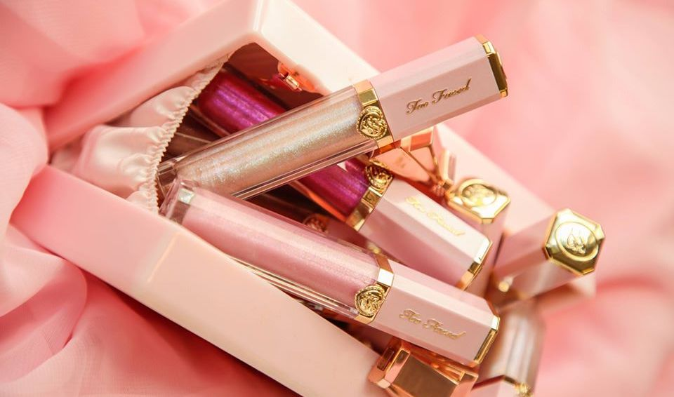Too Faced Rich & Dazzling lipglosses in box