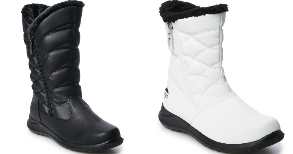 black boot and a white boot