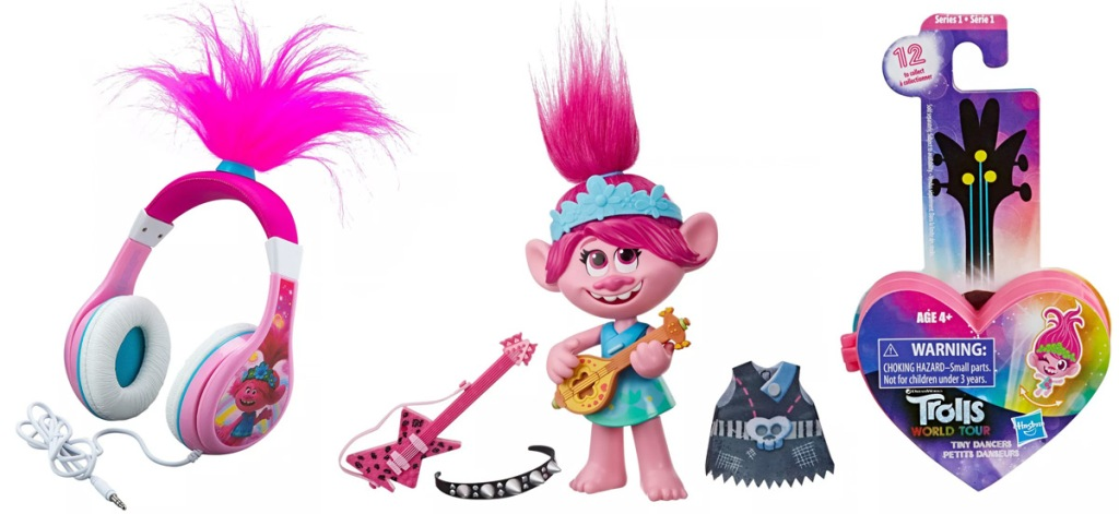 two pink trolls toys and pair of pink trolls headphones with pink troll hair at top