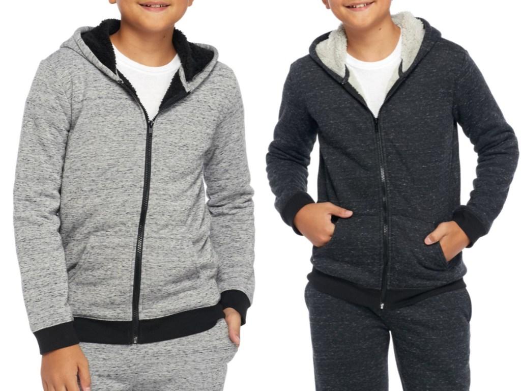 two boys wearing grey and navy blue true craft boys sherpa fleece full zip jackets