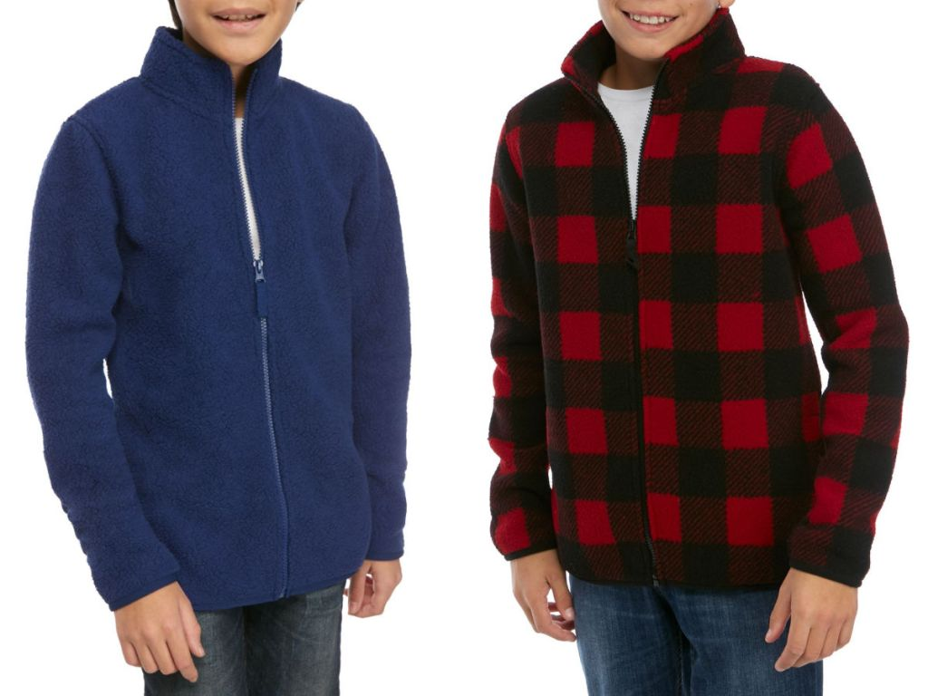 Navy Blue and Red and Black Buffalo Plaid True Craft Boys Sherpa Jacket