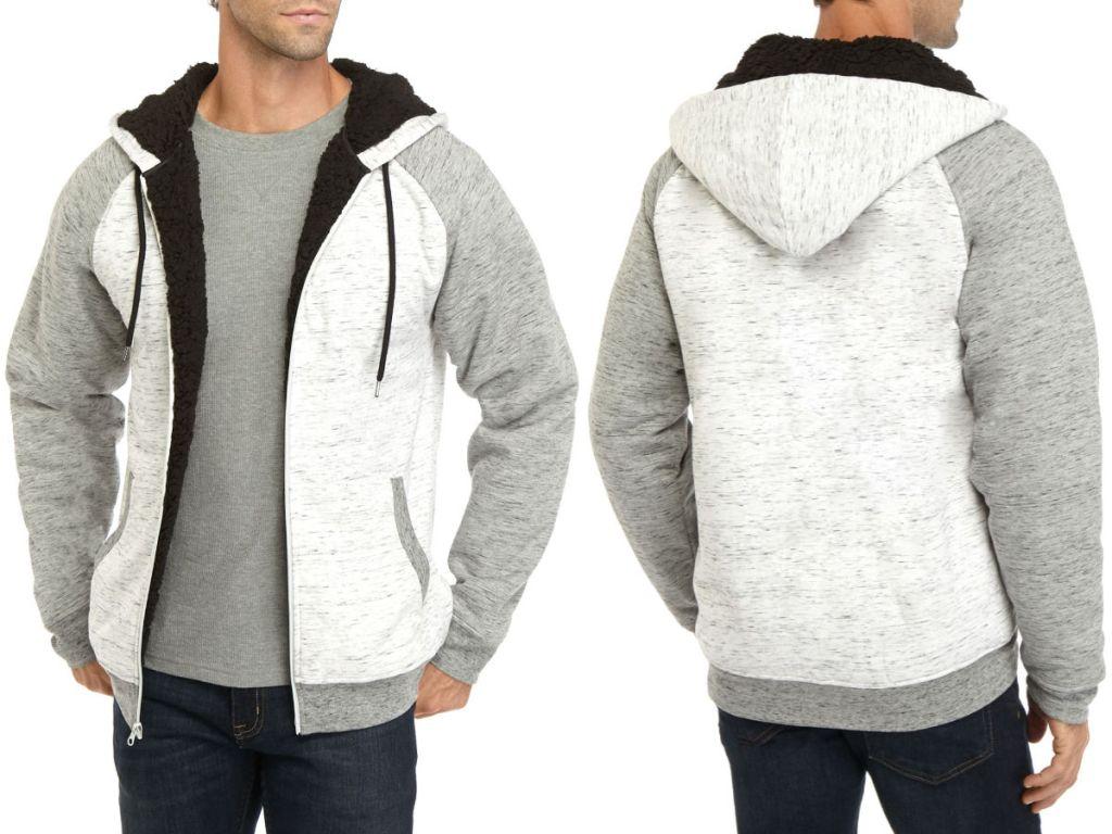 men wearing grey, white and black Sherpa Lined Fleece Zip Jacket