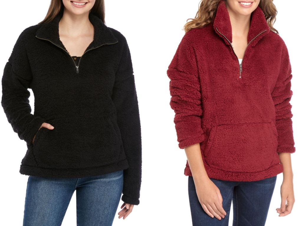 women wearing black and red True Craft Womens Sherpa Jacket