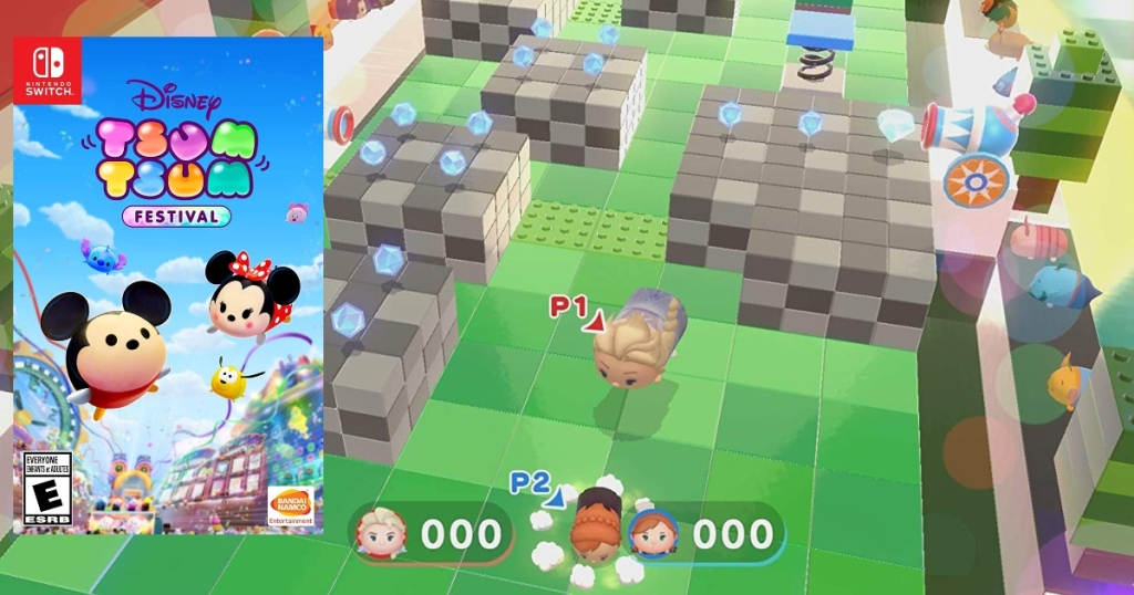 Tsum Tsum Game for Nintendo switch. Game box on left over top the screenshot background