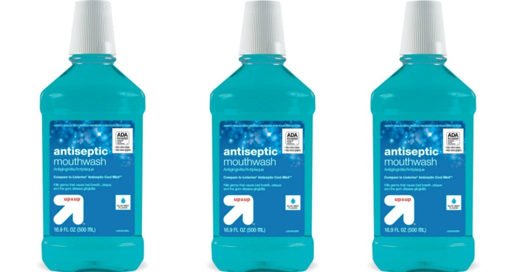 three bottles of mouthwash
