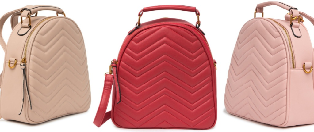 tan quilted backpack, red quilted backpack, and pink quilted backpack