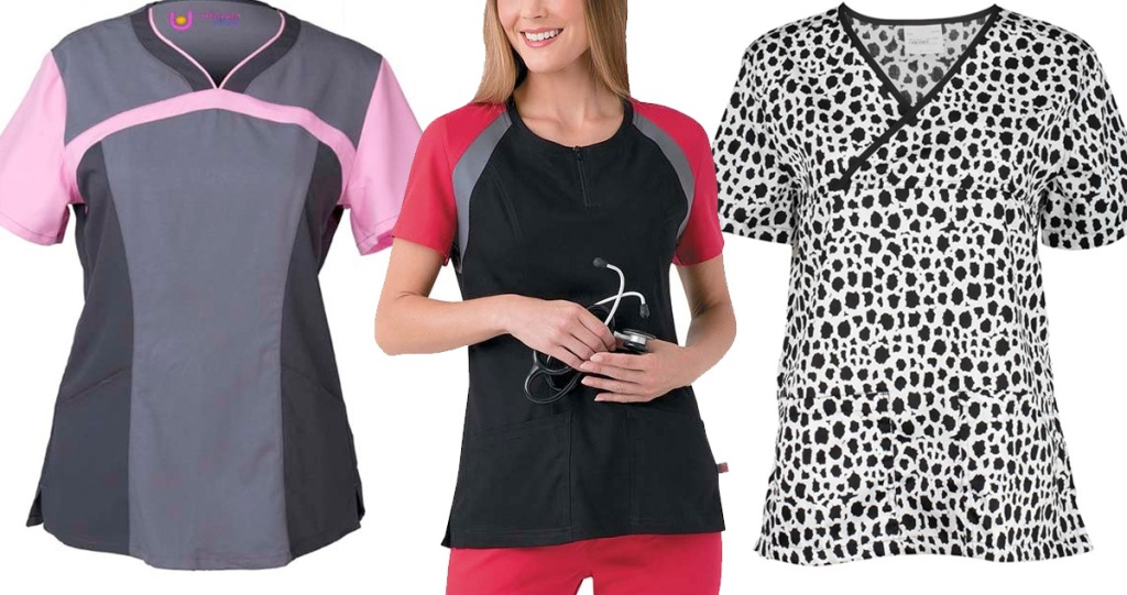 grey and pink scrub top, woman wearing black and red scurb top, and white and black printed scrub top