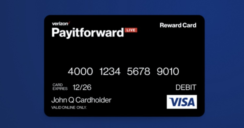 VISA Reward Card on blue background