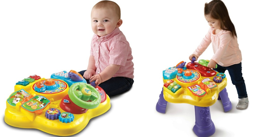 two kids playing with a table