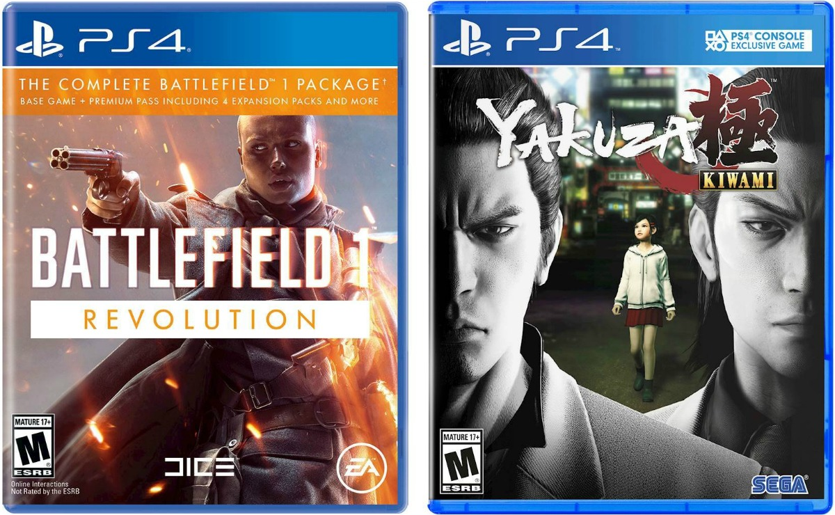 Two video game case covers for PS4 and Xbox One
