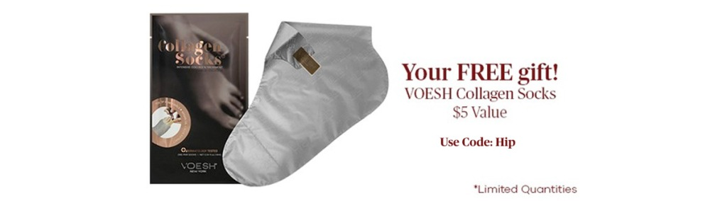 grey voesh collagen socks with brown packaging