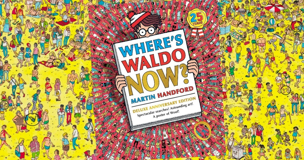 Where's Waldo Now Deluxe Edition book cover over a page view